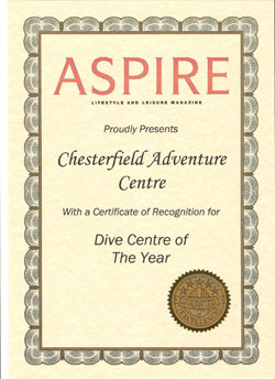 Chesterfield Adventure Centre - Aspire's choice for Dive Centre of the Year